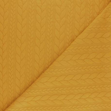 Tissu jersey Torsade - Jaune moutarde x 10cm