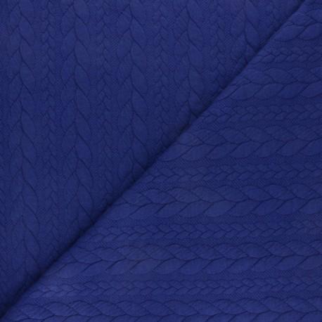 Tissu jersey Torsade - Bleu indigo x 10cm