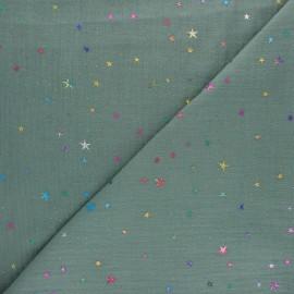 Tissu double gaze de coton Galaxie cosmique - eucalyptus x 10cm
