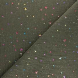 Tissu double gaze de coton Galaxie cosmique - kaki x 10cm