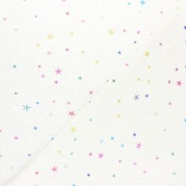 Double cotton gauze fabric - White Cosmique Galaxy x 10cm