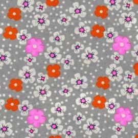 Tissu enduit coton Fleurs des îles gris