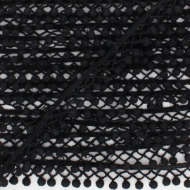 Hemstitched Pompom Ribbon - black  x 1m