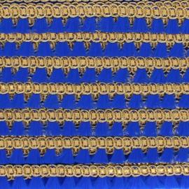 Galon lurex Mini Pompon Frangette - Bleu x 1m