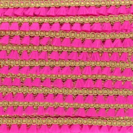 Lurex Pompom Trimming Ribbon - Pink Frangette x 1m