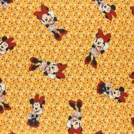 Disney Cretonne cotton fabric - pink Flowery Minnie x 10 cm