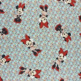 Tissu coton cretonne Minnie fleurie - figue x 10cm