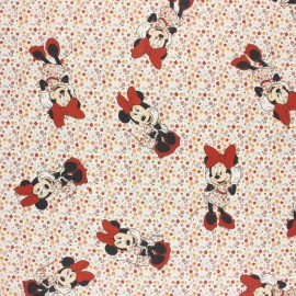 Tissu coton cretonne Minnie fleurie - bleu x 10cm