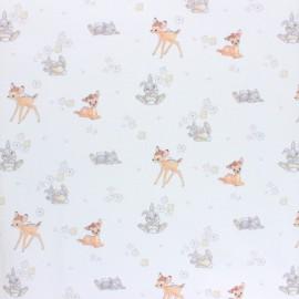 Tissu coton cretonne Bambi et Panpan - blanc x 10cm