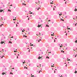 Disney Cretonne cotton fabric - white Flowery Minnie x 10 cm