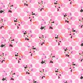 Tissu coton cretonne Minnie fleurie - blanc x 10cm