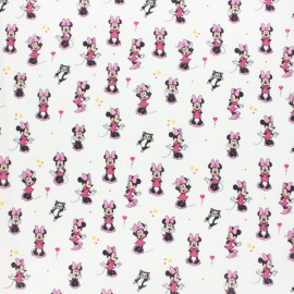 Tissu coton cretonne Mini Minnie - blanc x 10cm