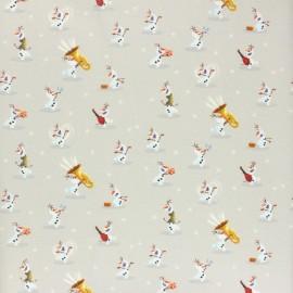 Tissu coton cretonne La reine des neiges - Olaf - beige x 10cm
