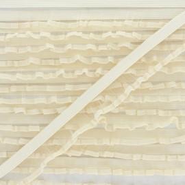 Flounce Lingerie Elastic Ribbon - Beige x 1m