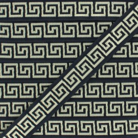Jacquard braid - black Roma x1m