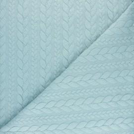 Tissu jersey Torsade - Bleu pastel x 10cm