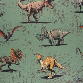 Tissu coton cretonne Jurassic World - vert x 10cm