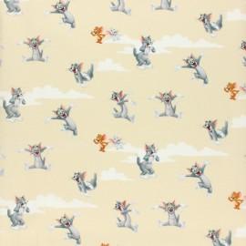 Tissu coton cretonne Tom & Jerry - écru x 10cm