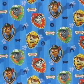 Tissu coton cretonne Pat'Patrouille team - bleu x 10cm