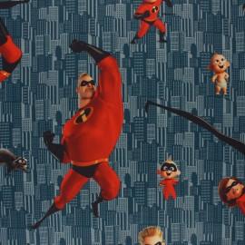 Cretonne cotton fabric - blue The Incredibles x 10 cm