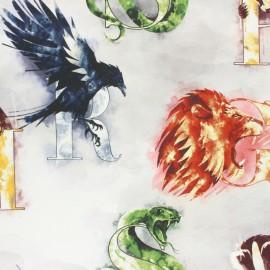 Tissu coton cretonne Harry Potter - 4 maisons x 10cm