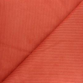 Tissu velours à grosses côtes orange x 10cm