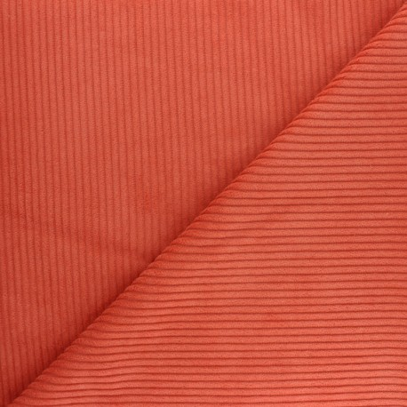 Thick Ribbed Velvet Fabric Orange X 10cm Ma Petite Mercerie