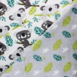 Tissu Doudou double face Little Panda - vert x 10cm