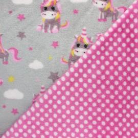 Tissu Doudou double face Licorne Kawaii - gris x 10cm