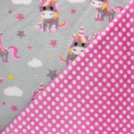 Double sided baby's security blanket - grey Kawaii unicorn x 10cm