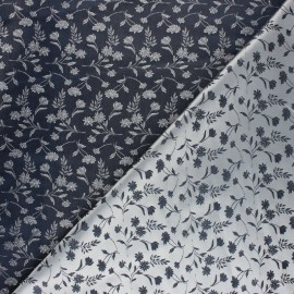 Jacquard Lining Fabric - navy blue Abstract x 10cm