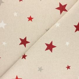 Tissu polycoton aspect lin - lurex - étoile de Noël x 10cm