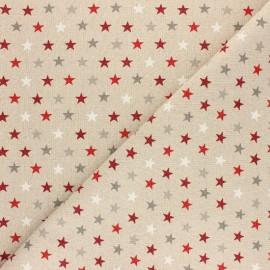 Tissu polycoton aspect lin - lurex - mini étoile de Noël x 10cm