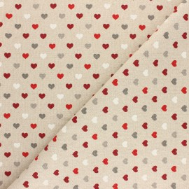 Polycotton linen aspect fabric - lurex - mini coeur de Noël x 10cm