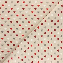 Tissu polycoton aspect lin - lurex - mini coeur de Noël x 10cm