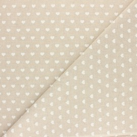 Tissu polycoton aspect lin Mini coeur - Écru x 10cm