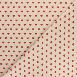 Tissu polycoton aspect lin Mini coeur - Rouge x 10cm
