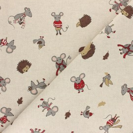 Polycotton linen aspect fabric - Natural Winter forest x 10cm
