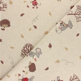 Tissu polycoton aspect lin Amour de forêt - Naturel x 10cm