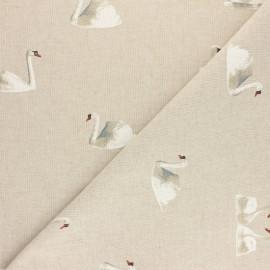 Tissu polycoton aspect lin Cygne - Naturel x 10cm