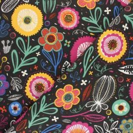 Polycotton fabric - pink Folkflowers x 10cm