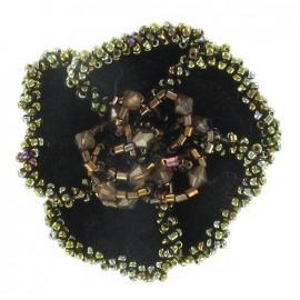 ♥ Broche fleur velours perles chocolat ♥