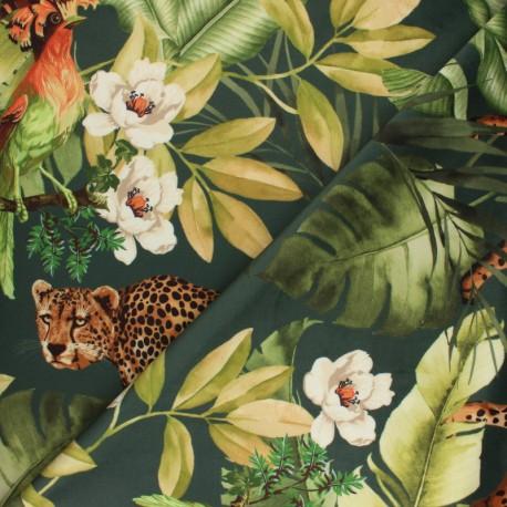 Digital print velvet fabric - green Léopard x 35 cm