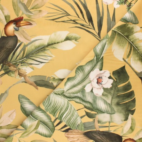 Digital print velvet fabric - yellow Léopard x 35 cm