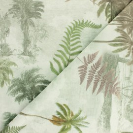 Digital print velvet fabric - green Palmeraie x 65 cm