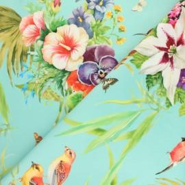 Tissu velours Printemps - bleu x 65 cm
