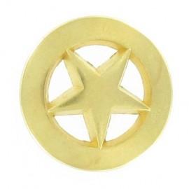 Metal button, centered star - golden
