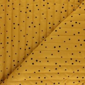 Tissu matelassé doudoune double face étoile velours - moutarde x 10cm