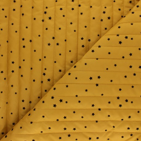 Reversible quilted lining fabric - mustard Velvet stars x 10cm