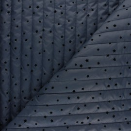 Reversible quilted lining fabric - swell blue Velvet stars x 10cm
